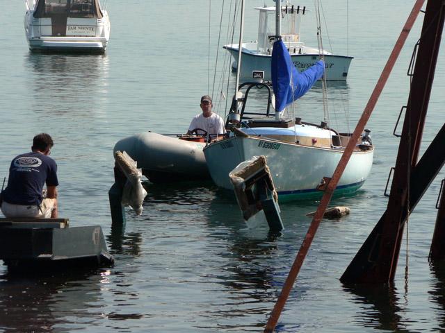 Bringing the boat in.