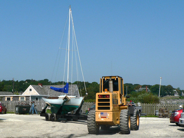Transporting the boat to be stored.